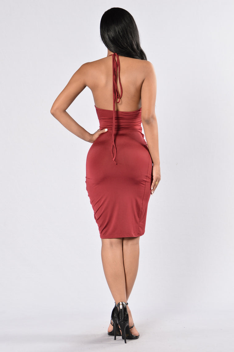 The Whip And Body Dress - Burgundy