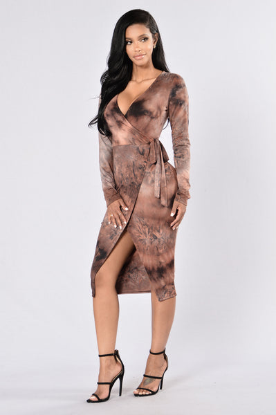 Moon Dust Dress - Red Brown