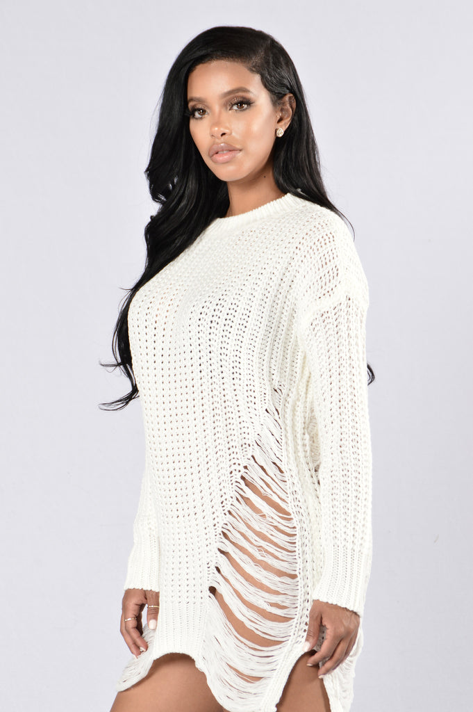 Unraveled Sweater - White
