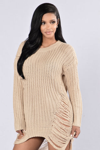 Unraveled Sweater- Taupe
