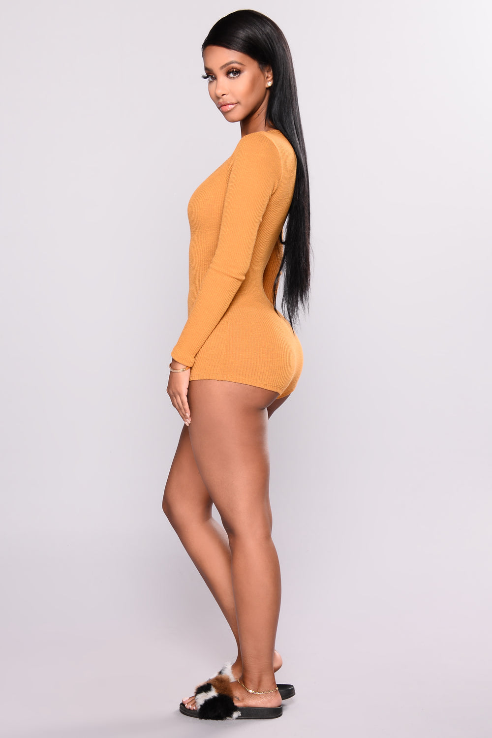 Up All Night Romper - Mustard