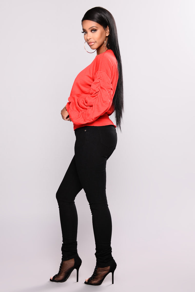 Puff Me Up Sweater - Red