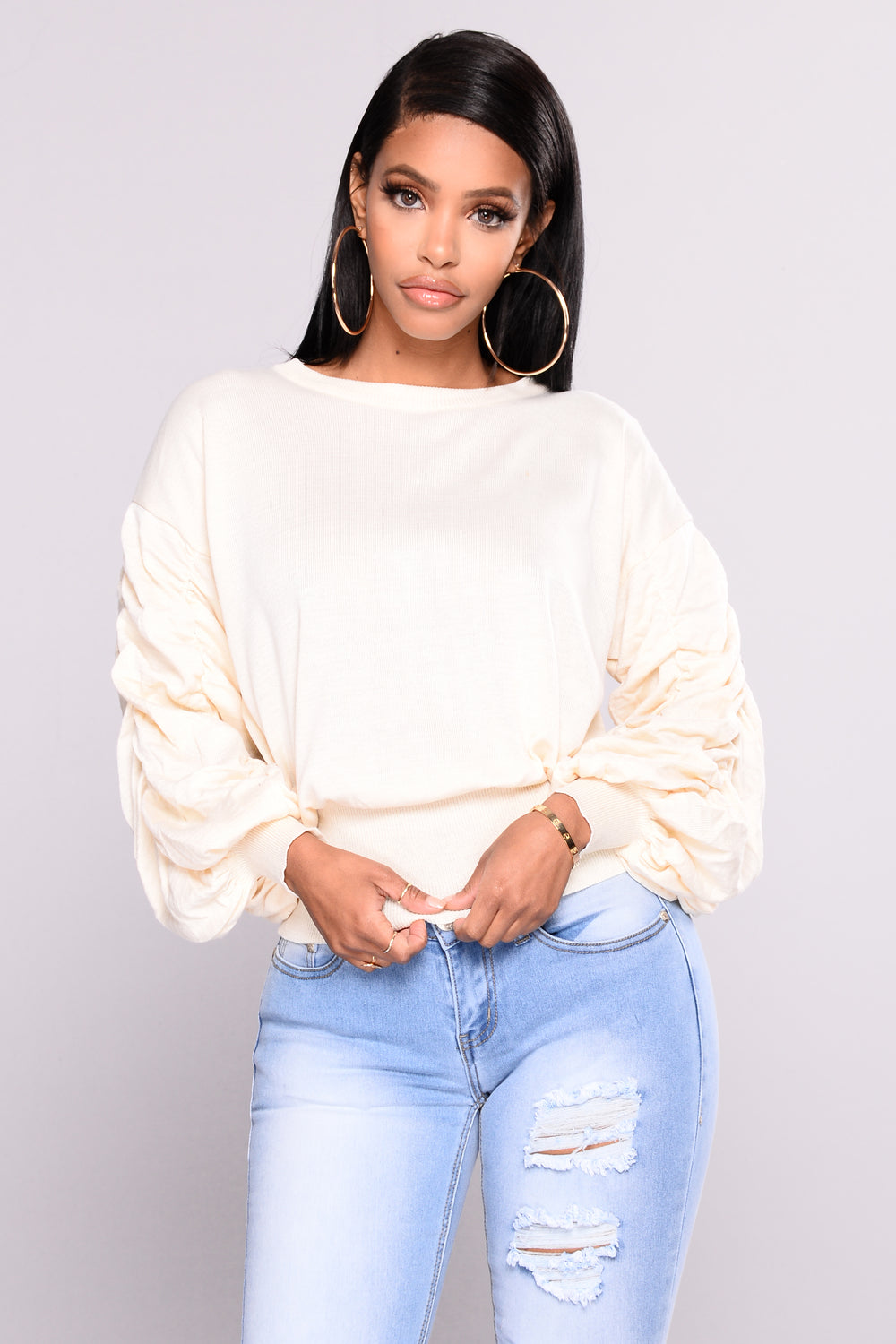 Puff Me Up Sweater - Ivory