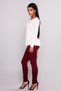 Chrissy High Rise Leggings - Wine