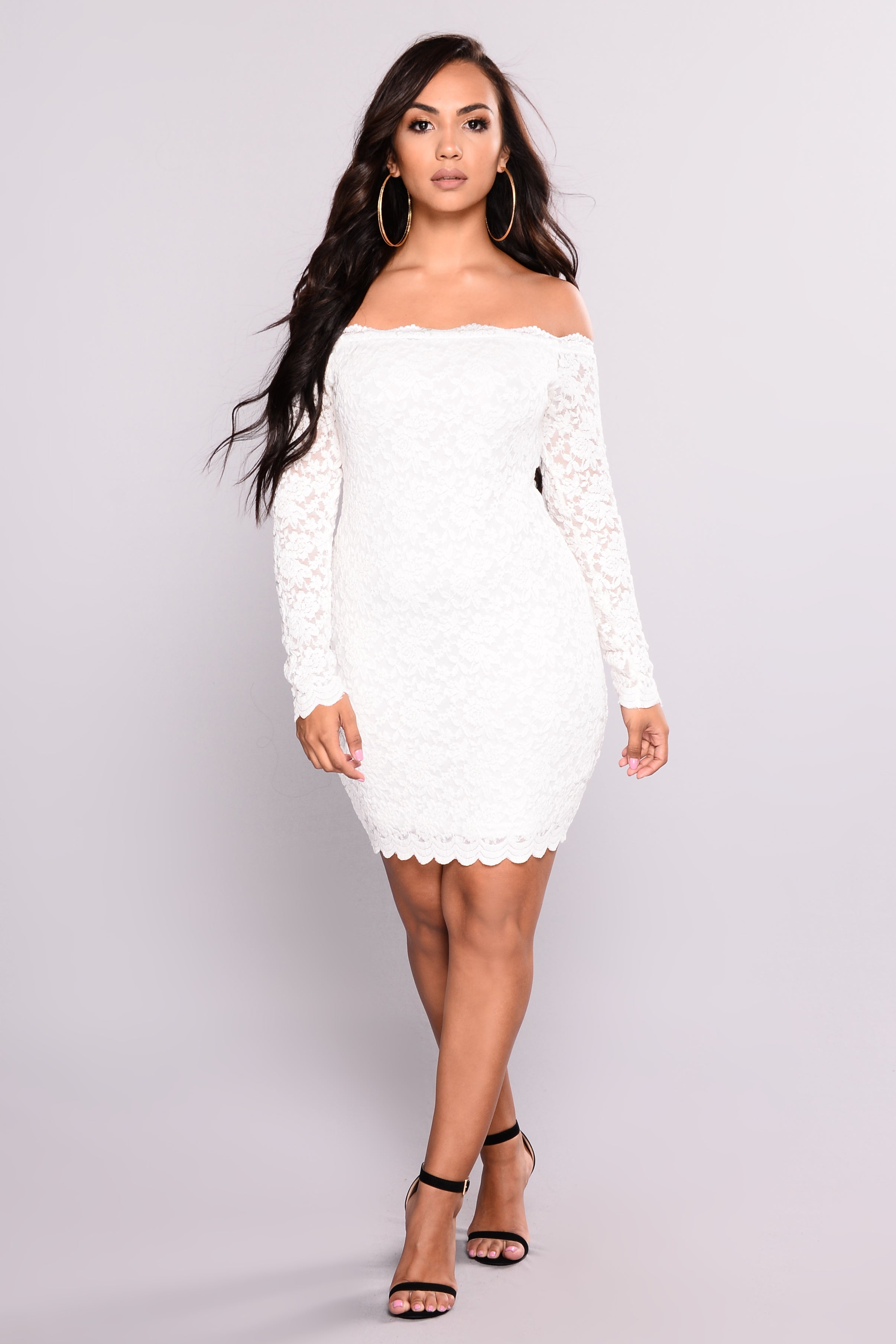 Off Shoulder Lace Bodycon Dress White