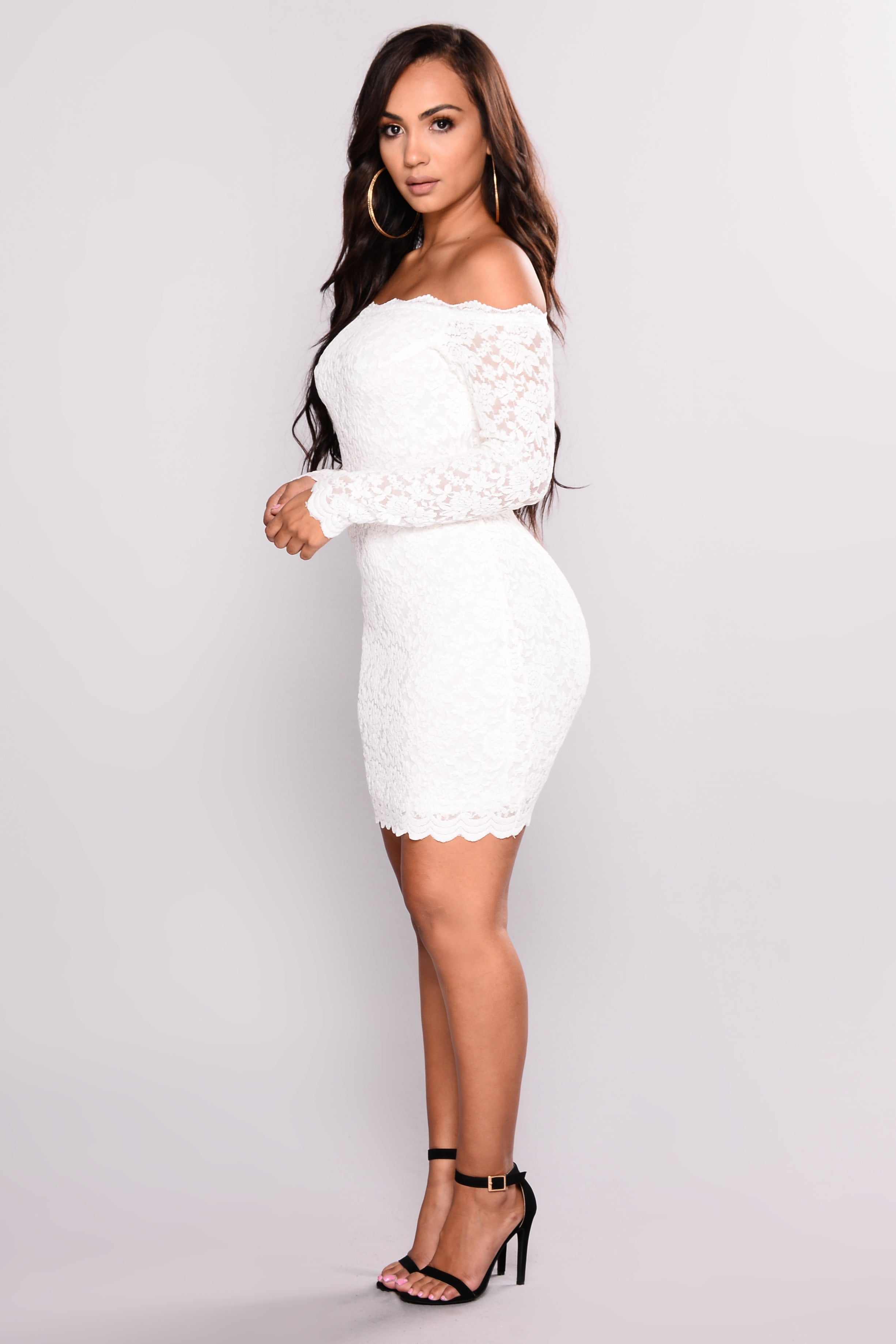 White dress with black lace at the waist