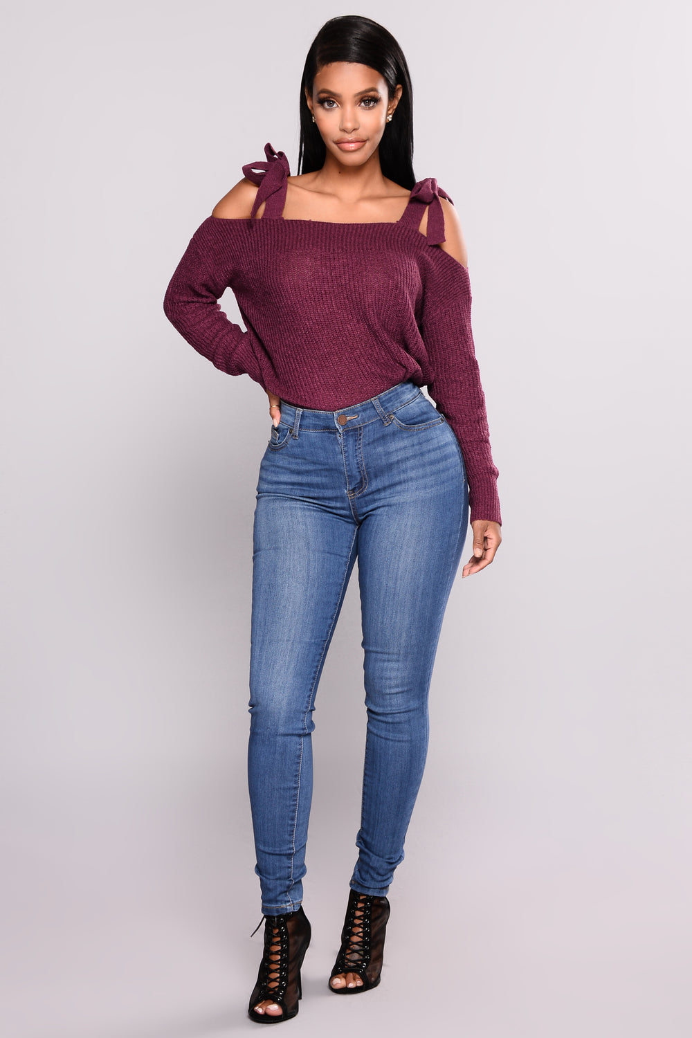 Shifting Power Cold Shoulder Sweater - Plum