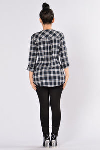 Rockies Flannel Top - Navy