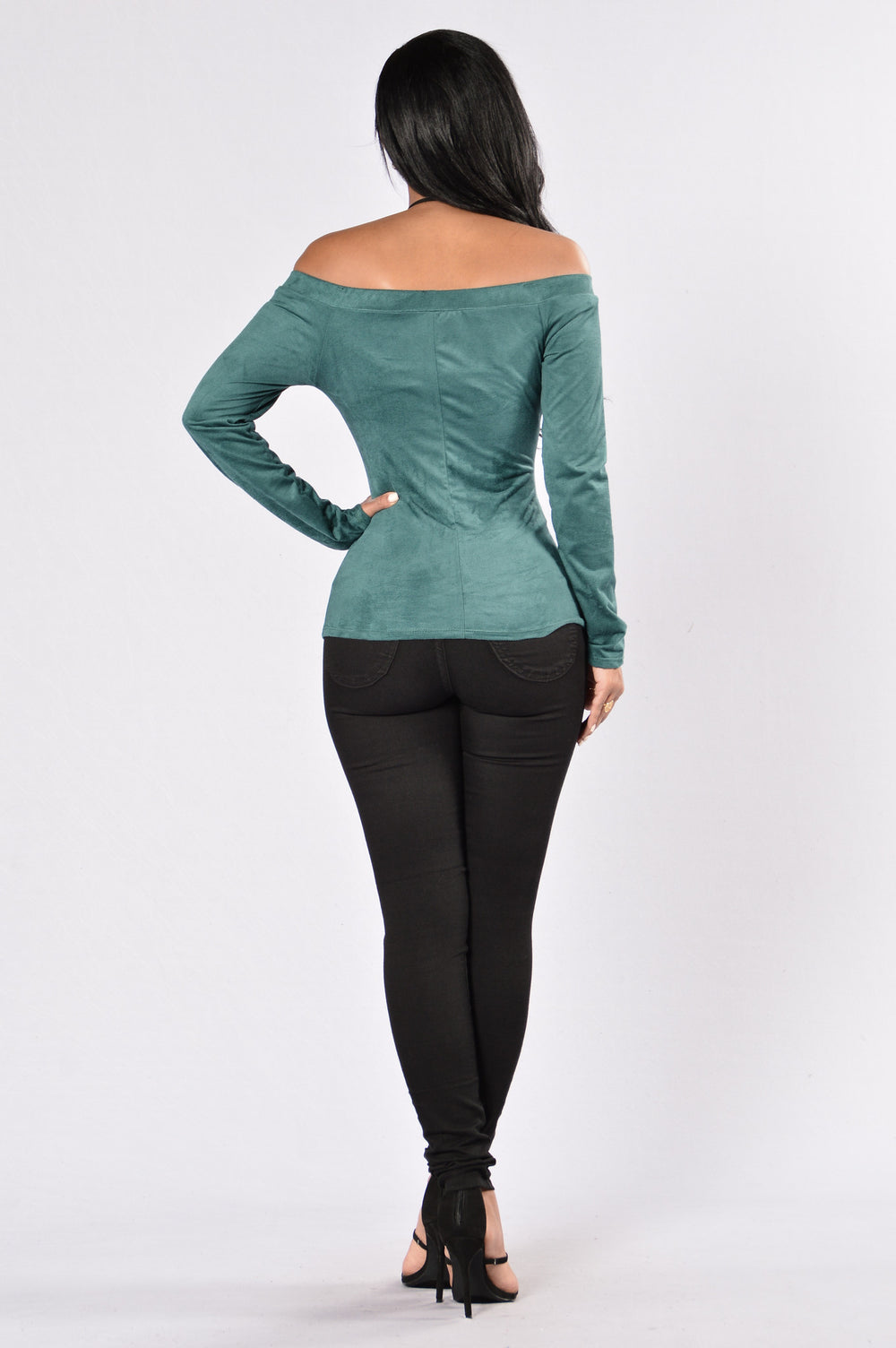 Feathered Top - Hunter Green