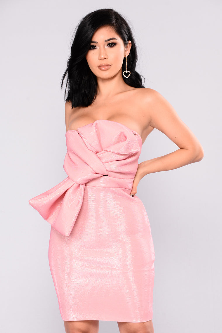 Rose Petals Tube Bow Dress - Pink
