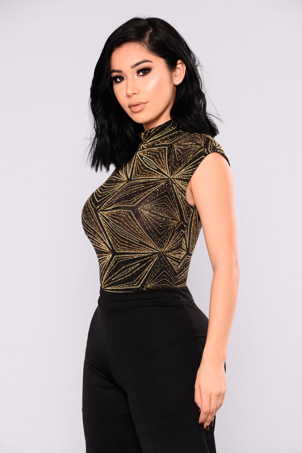 Jaylenne Metallic Bodysuit - Black/Gold