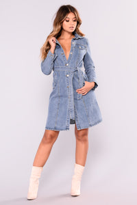 Don't Mind If I Do Denim Jacket - Medium Blue