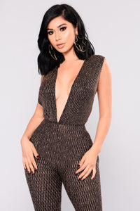 Knit Me Glitter Jumpsuit - Gold