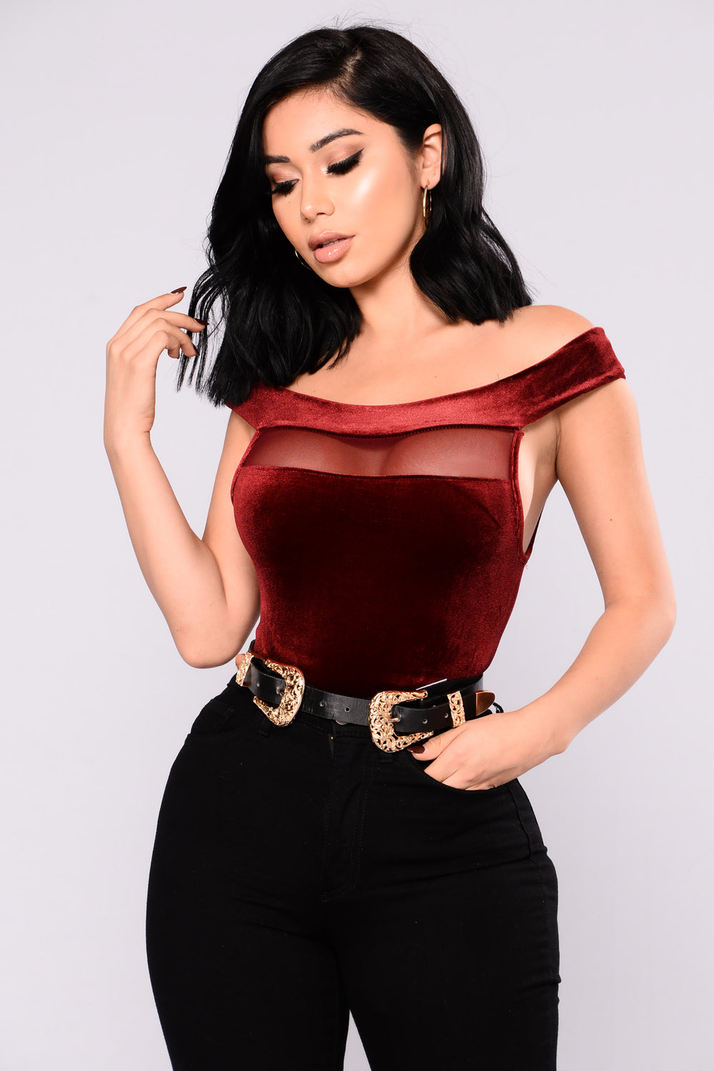 Diana Off Shoulder Velvet Top - Wine