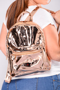 Alessa Metallic Backpack - Rose Gold