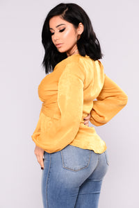 Mellina Satin Top - Mustard