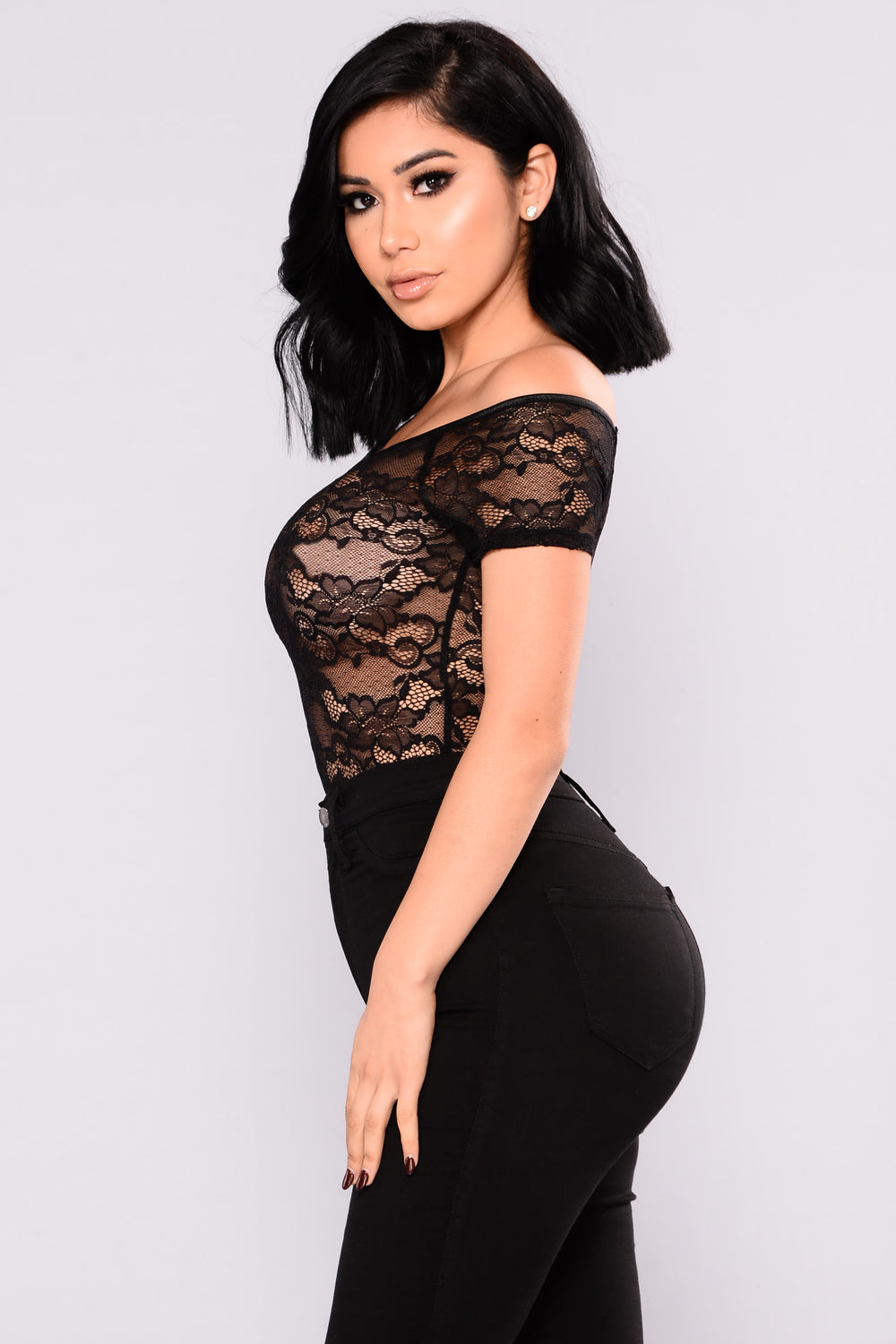 Francesca Lace Bodysuit - Black