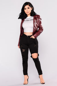 Remind Me Later Faux Leather Jacket - Burgundy Angle 5
