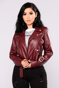 Remind Me Later Faux Leather Jacket - Burgundy Angle 2