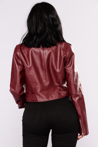 Remind Me Later Faux Leather Jacket - Burgundy Angle 4