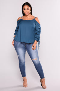 Exotic Encounters Bubble Sleeve Top - Teal