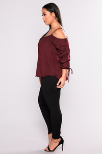 Exotic Encounters Bubble Sleeve Top - Burgundy Angle 5