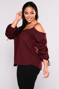 Exotic Encounters Bubble Sleeve Top - Burgundy Angle 3
