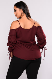 Exotic Encounters Bubble Sleeve Top - Burgundy Angle 4