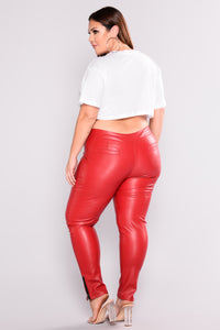 Maggy Zipper Pants - Red