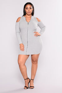 Relationship Status Cold Shoulder Dress - Heather Grey