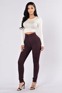 Super High Waist Denim Skinnies - Plum