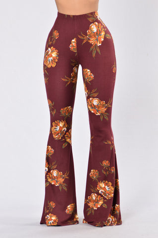 Feeling Your Vibes Pants - Floral Burgundy