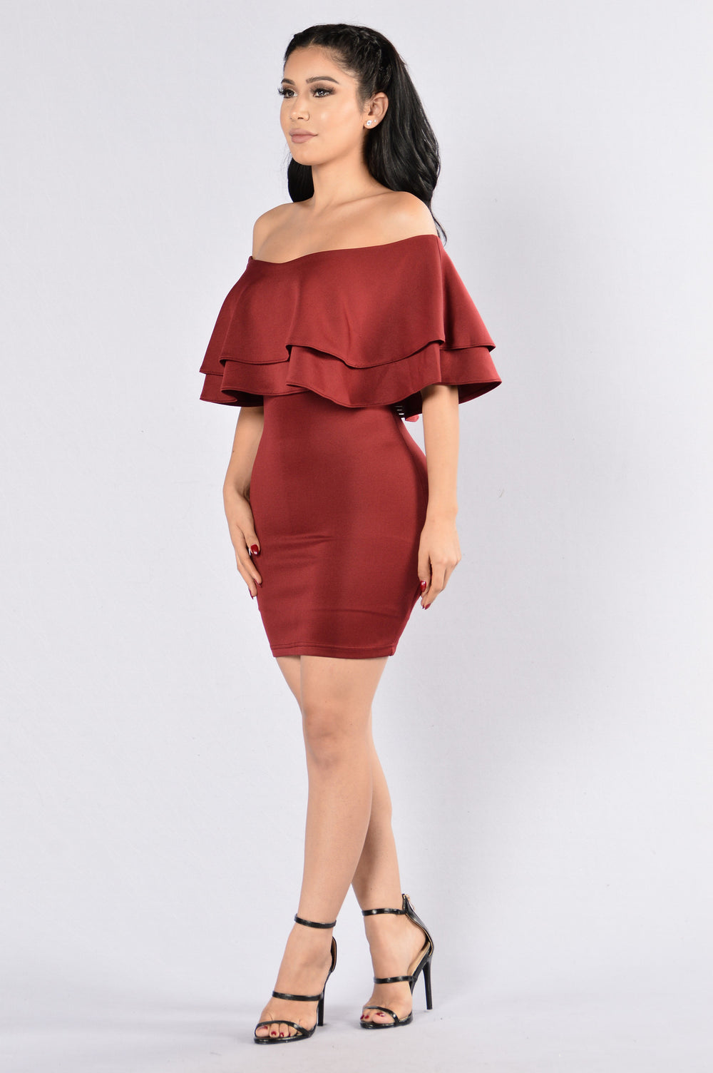 Ruffle Me Up Dress - Burgundy