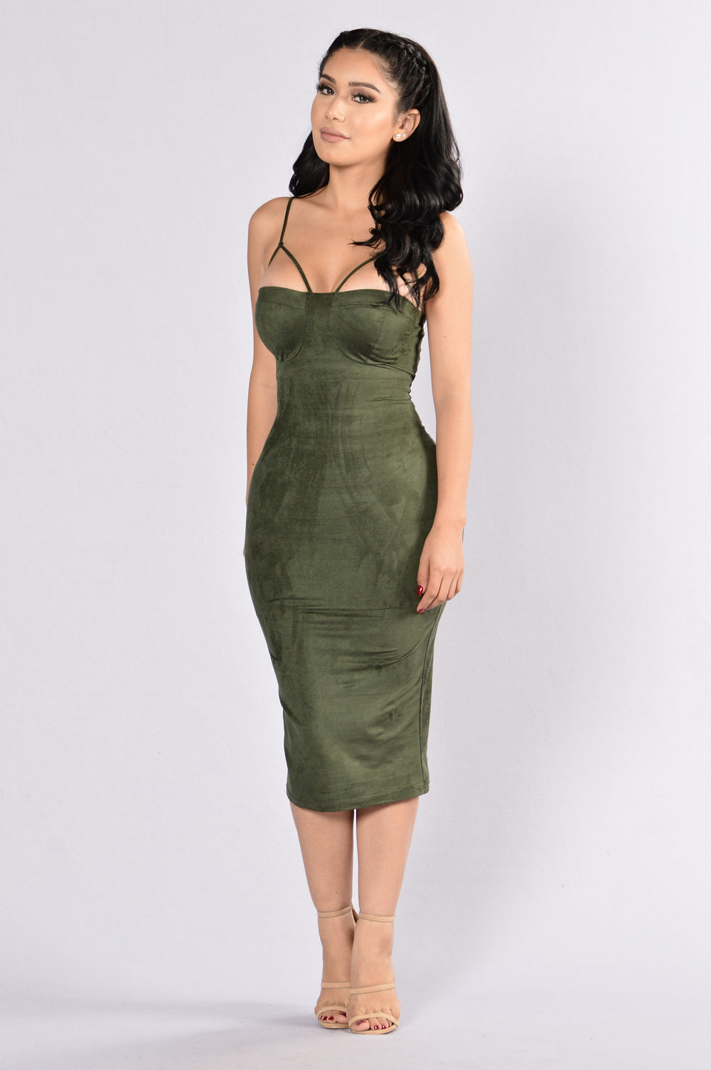 Rich Like Suede Dress - Olive
