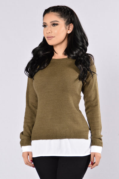 Still Here Sweater - Olive/White