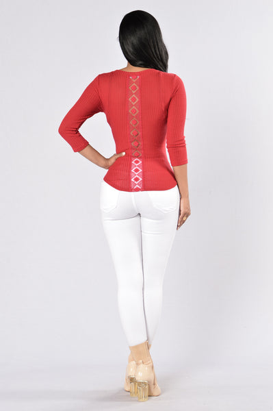 It's Hot In Here Thermal Top - Burgundy