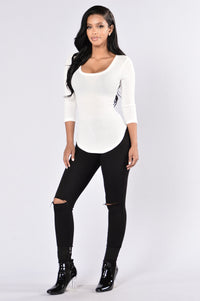 It's Hot In Here Thermal Top - Ivory Angle 4