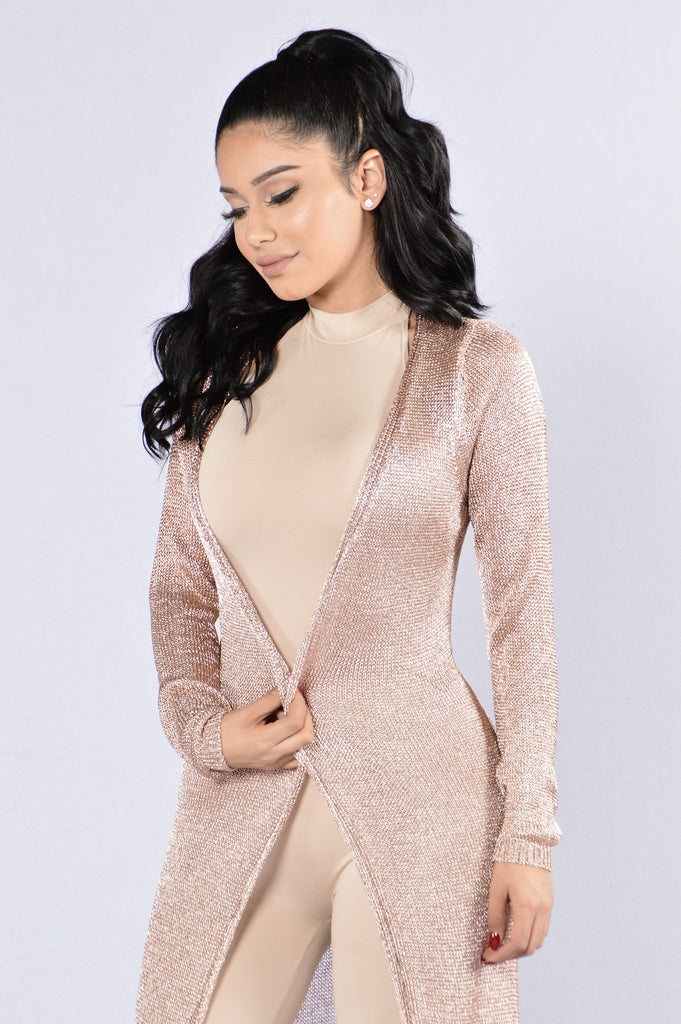 Spark It Cardigan - Rose Gold