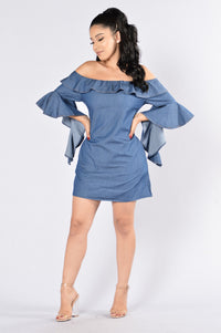 Wisteria Dress - Dark Blue Angle 1