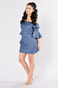 Wisteria Dress - Dark Blue Angle 3
