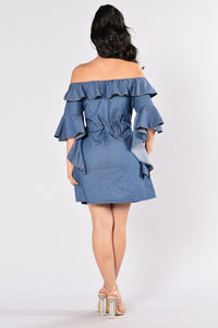Wisteria Dress - Dark Blue Angle 2