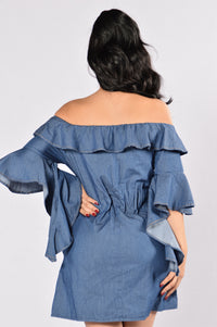 Wisteria Dress - Dark Blue Angle 5