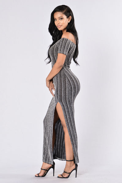 Needed Me Dress - Silver/Black