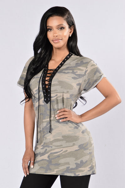 All Is Fair In Love And War Tunic - Camo