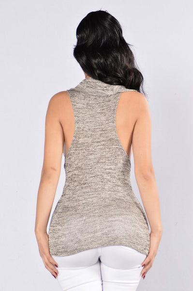 Cowl At The Mood Top - Grey