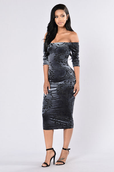 Dark Of The Night Dress - Charcoal