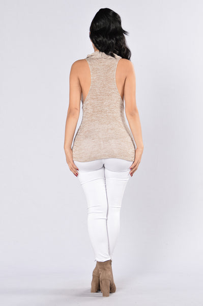 Cowl At The Mood Top - Khaki
