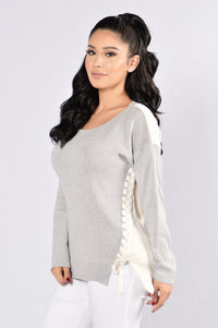 Tie Me In Sweater - Grey/White