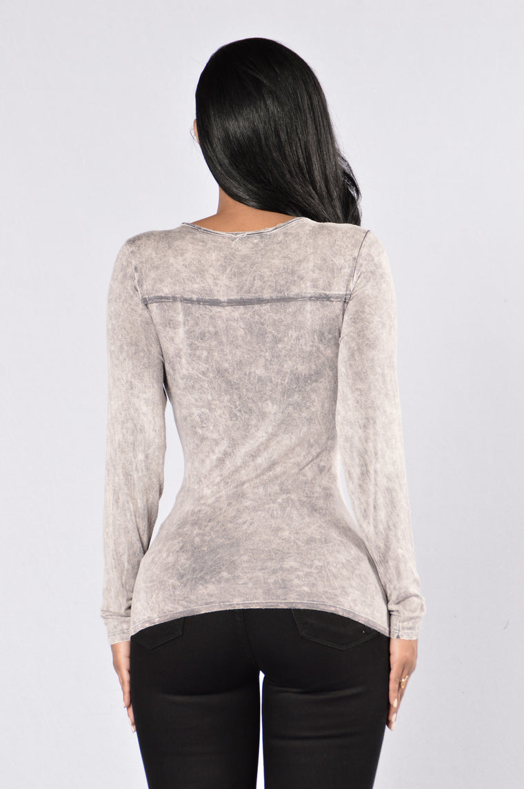 Walking On A Thin Line Top - Light Grey