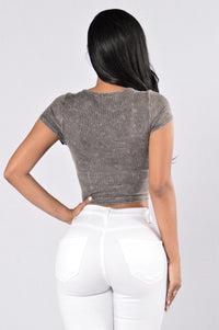 Closing Time Crop Top - Charcoal Angle 2